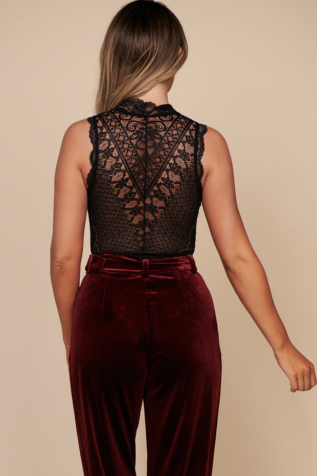 It Had To Be You Sleeveless Lace Bodysuit (Black) - NanaMacs