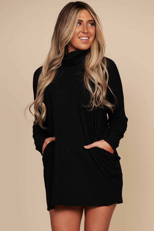 Choose Love Turtle Neck Sweater Dress (Black)