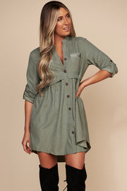 Spread Peace Button Up Dress (Olive)