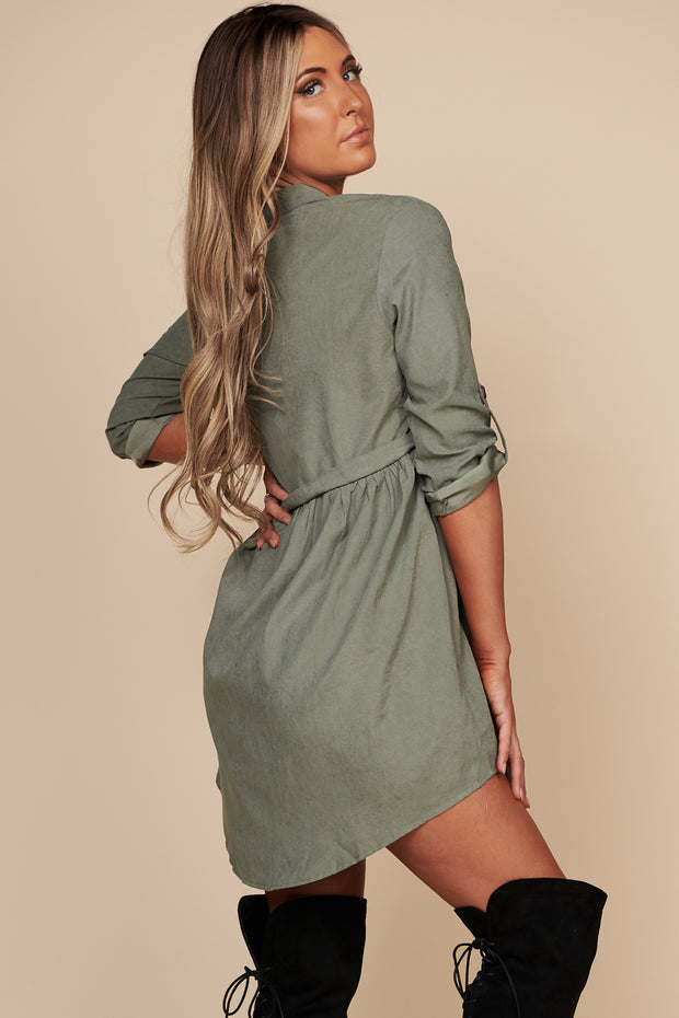 Spread Peace Button Up Dress (Olive) - NanaMacs