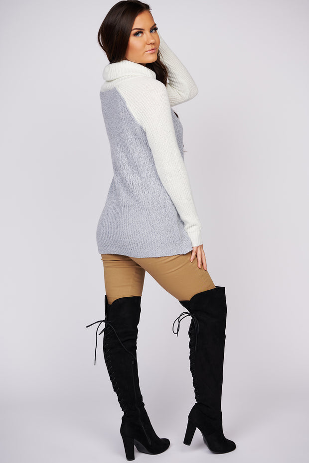 Cabin In The Woods Cowl Neck Sweater (Ivory/Heather Grey) - NanaMacs