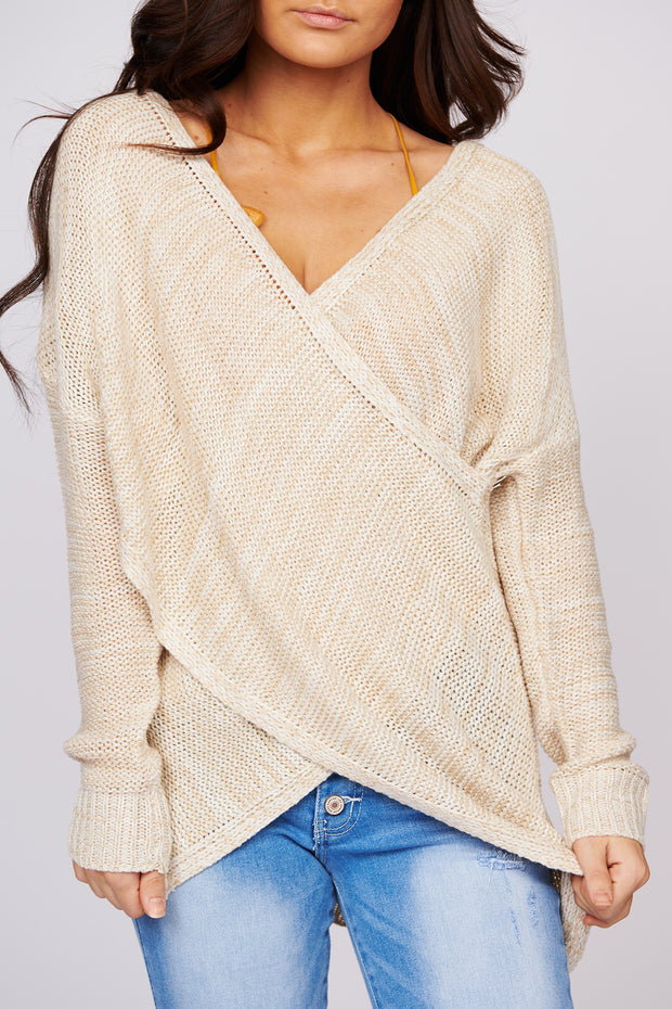 In The Valley Open Knit Tunic Sweater (Beige)
