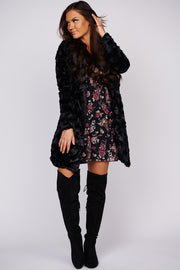 Confession Time Floral Long Sleeve Dress (Black/Multi)