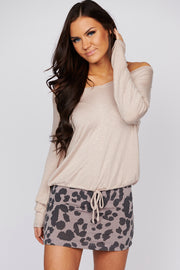 Fleeting Moments Long Sleeve Knit Top (Mushroom)
