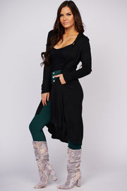 Don't Say Goodbye Ribbed Duster Cardigan (Black)