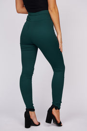 Give It Your All High Waisted Fitted Pants (Teal Green) - NanaMacs