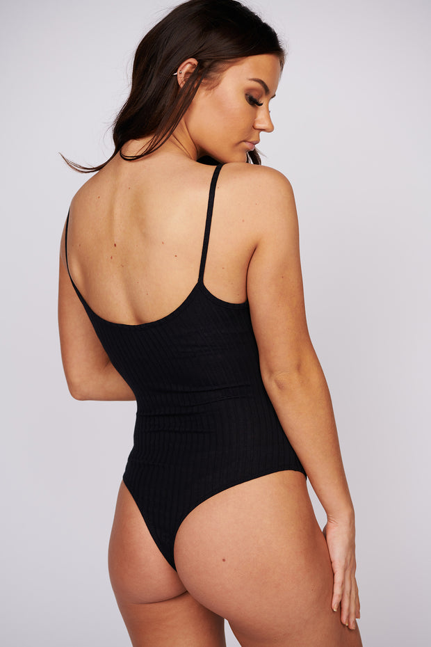 Point To Prove Ribbed Bodysuit (Black)