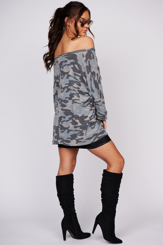 Don't Miss This Camo Oversized Top (Multi)