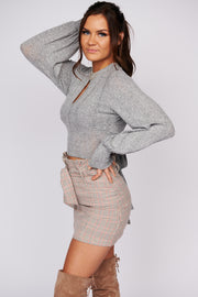 Easy To Love Long Sleeve Crop Top (Heather Grey) - NanaMacs