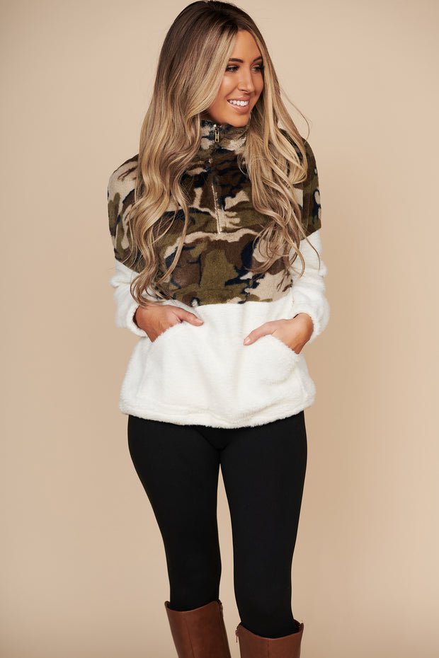 It'll All Work Out Camo Faux Fur Pullover (Cream) - NanaMacs