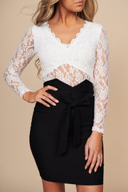 Lost In The Moment Lace Long Sleeve Bodysuit (White) - NanaMacs
