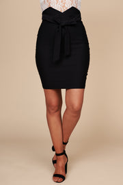 Climbing To The Top High Waisted Bodycon Skirt (Black)
