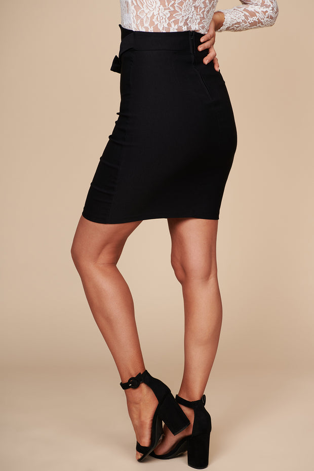 Climbing To The Top High Waisted Bodycon Skirt (Black) - NanaMacs