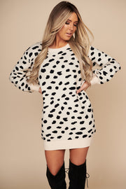 In Your Wildest Dreams Animal Print Sweater Dress (Taupe)