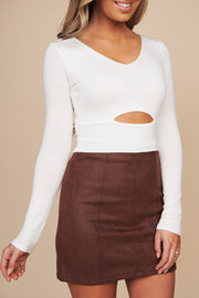 You Should Be Mine Long Sleeve Crop Top (Ivory)