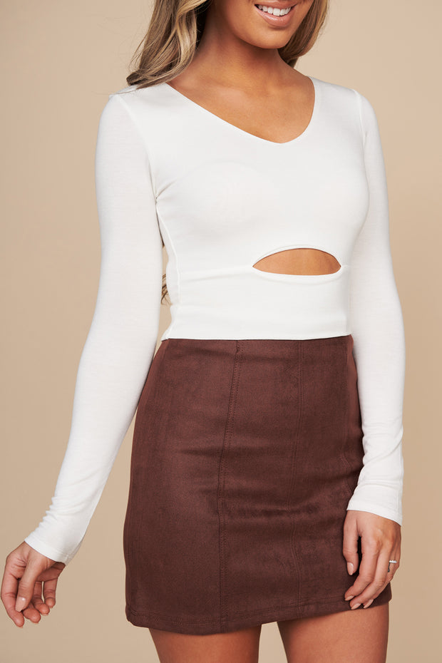 You Should Be Mine Long Sleeve Crop Top (Ivory) - NanaMacs