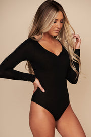 One More Look Long Sleeve Bodysuit (Black)