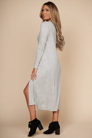 Take Your Pick Open Front Duster Cardigan (Heather Grey) - NanaMacs