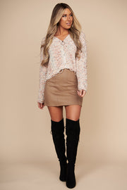 Love On The Weekend Knit Crop Sweater (Beige/Orange)