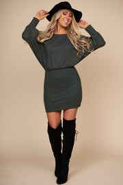 The One I Love Sweater Dress (Dark Olive) - NanaMacs