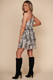 You're My Favorite Snake Skin Print Dress (Black)