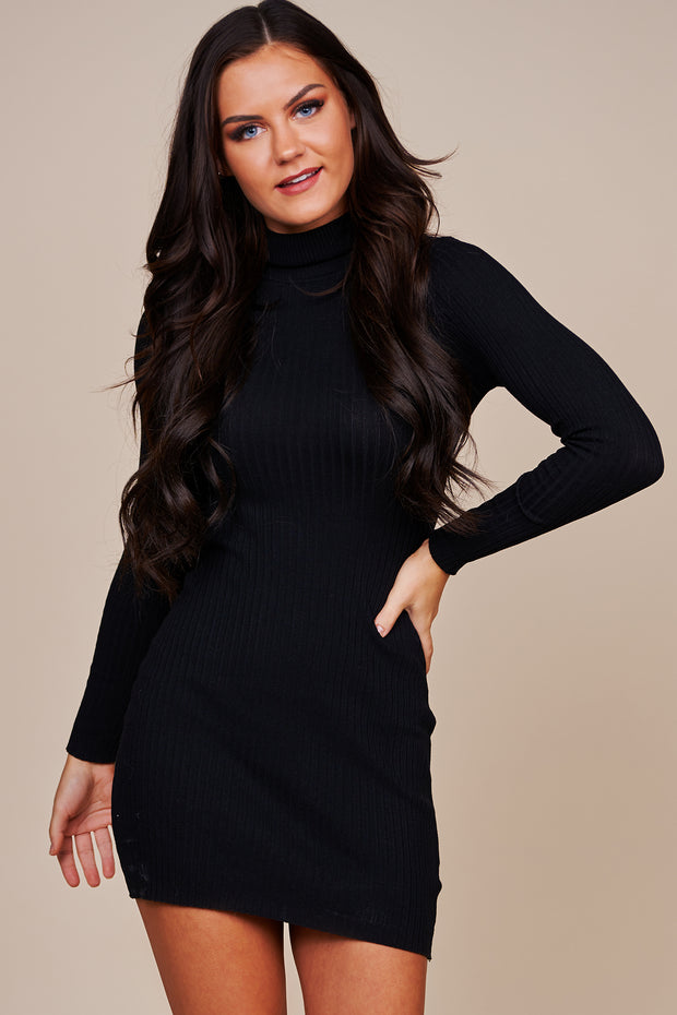 We Can Be Forever Turtle Neck Sweater Dress (Black) - NanaMacs