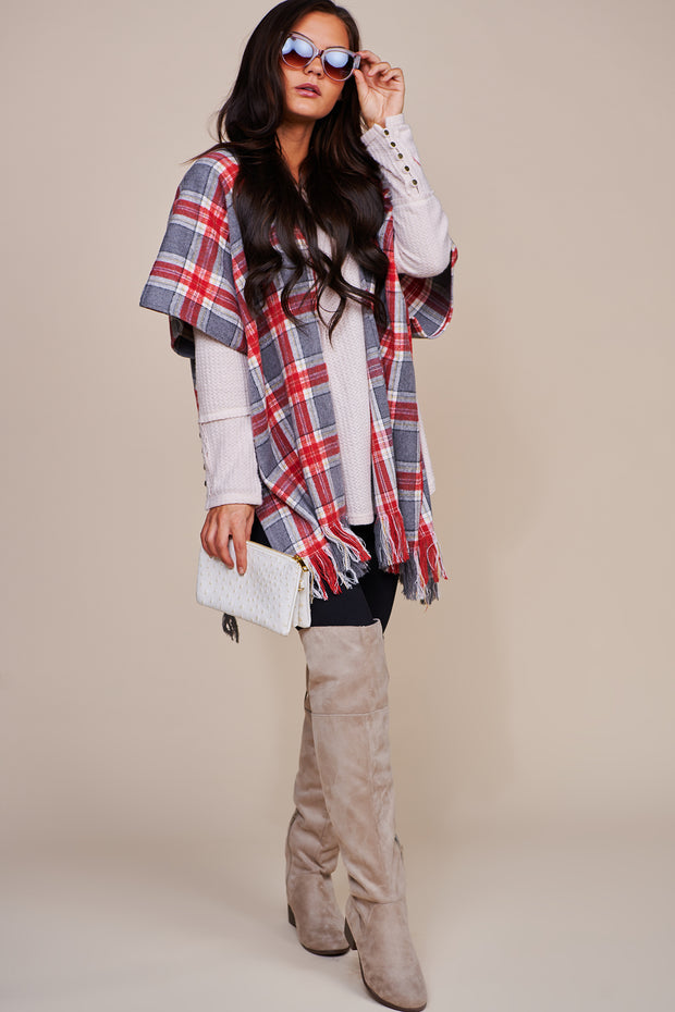 Let's Fly Away Plaid Fringe Poncho (Grey/Red) - NanaMacs