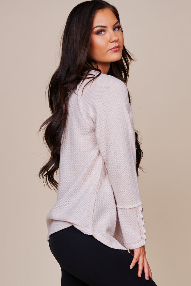 Hardest Goodbye Waffle Knit Long Sleeve Top (Natural) - NanaMacs