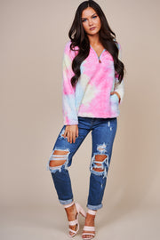 Colors Of The Rainbow Tie Dye Sherpa Pullover (Rainbow) - NanaMacs