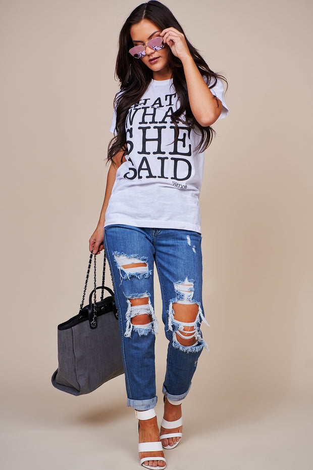 """That's What She Said"" Graphic Tee (White) - NanaMacs"