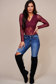 Lost In The Moment Lace Long Sleeve Bodysuit (Burgundy)