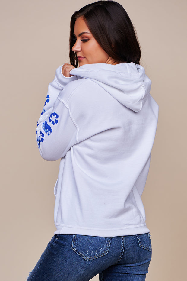 """Paper Company"" Fleece Lined Graphic Hoodie (White)"