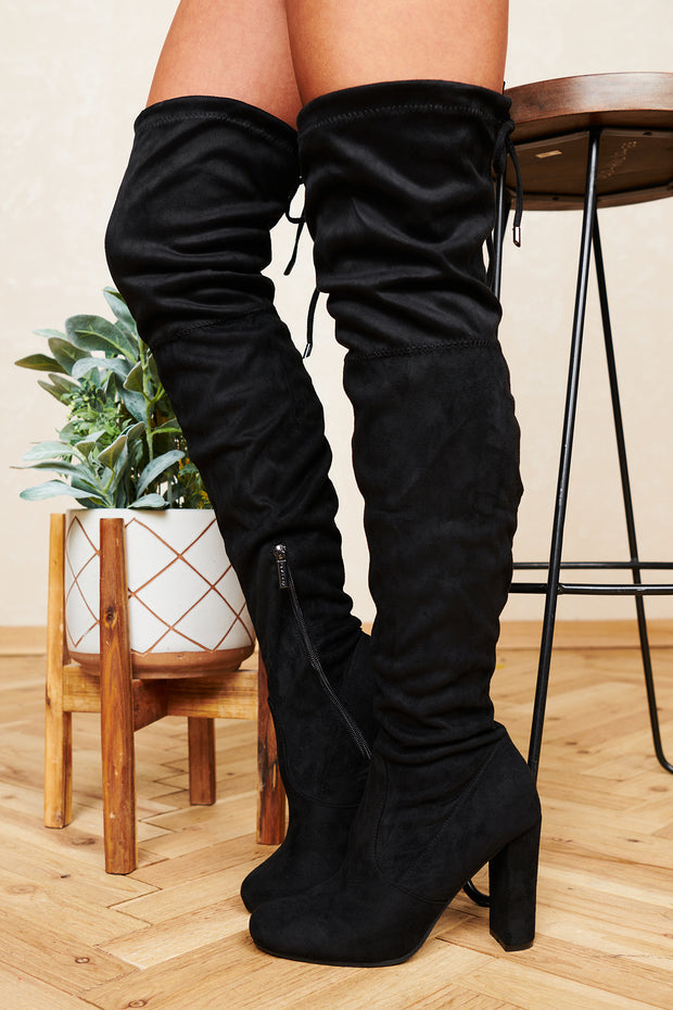 Standing Tall Faux Suede Thigh High Boots (Black) - NanaMacs
