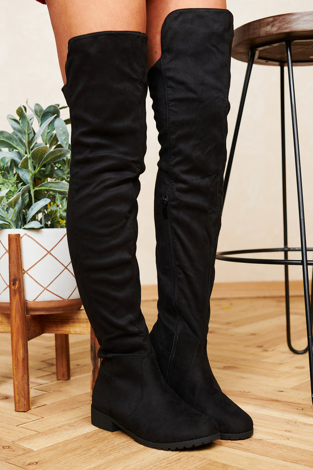 Start Living Today Faux Suede Thigh High Boots (Black) - NanaMacs