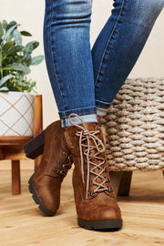 Montana Girl Lace Up Booties (Tan)