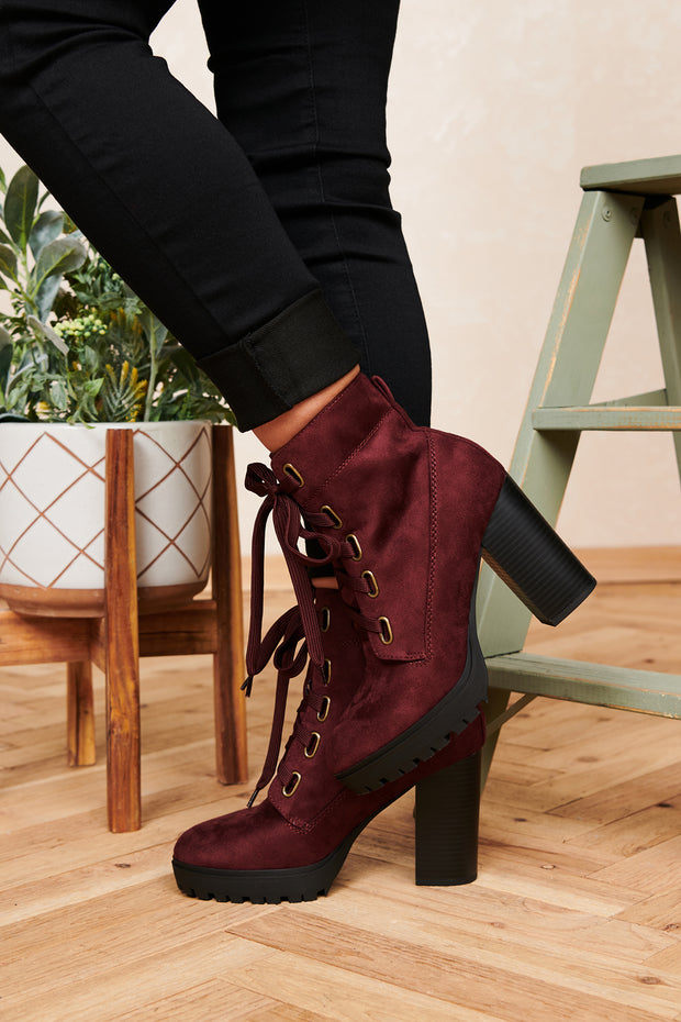Seek You Out Faux Suede Lace Up Booties (Vino) - NanaMacs
