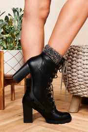 Montana Girl Lace Up Booties (Black)