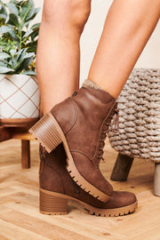 Chasing Dreams Faux Leather Lace Up Booties (Light Brown) - NanaMacs