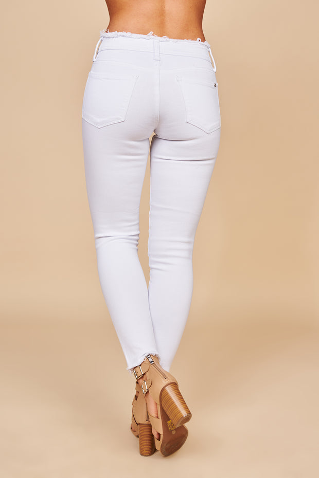 Can't Forget You Distressed Skinny Jeans (White) - NanaMacs