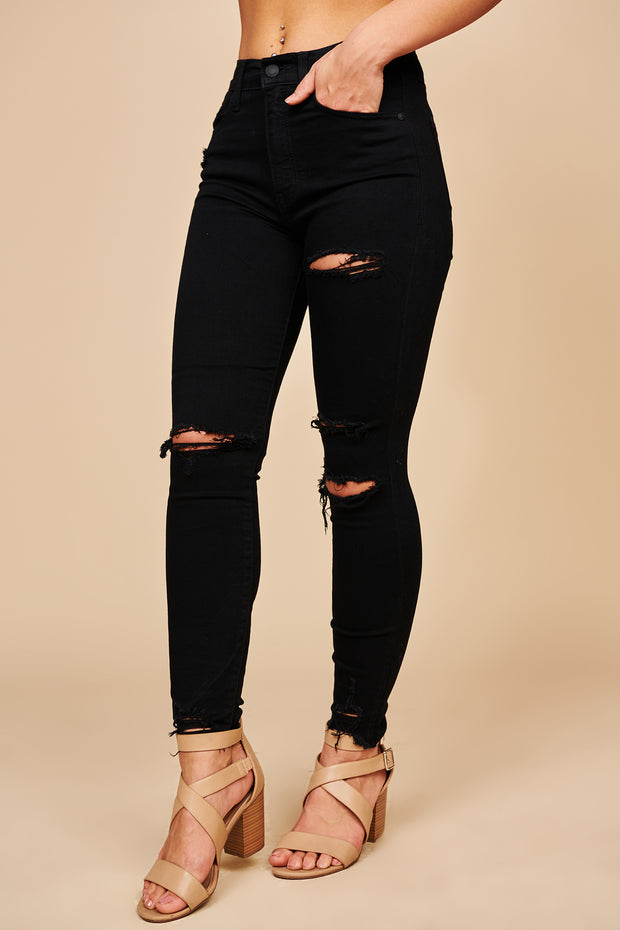 Slay All Day Distressed High Waisted Skinny Jeans (Black Shadow) - NanaMacs