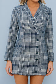 Be That Girl Plaid Blazer Dress (Navy)