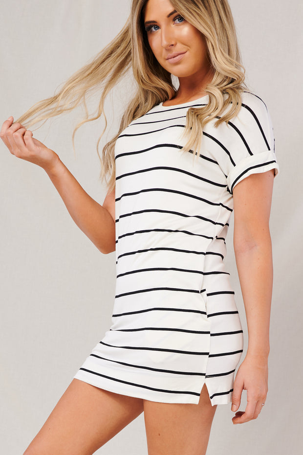 Cassidy Striped Short Sleeve Dress (Ivory)