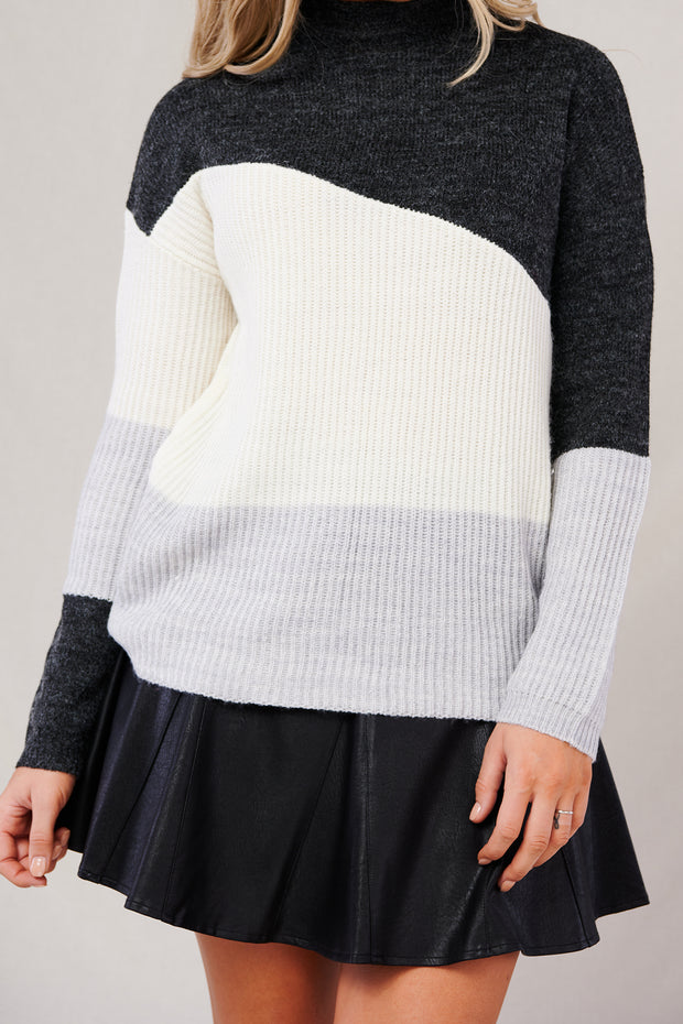 Join The Group Sweater (Charcoal/Cream/Grey) - NanaMacs