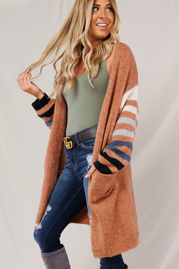 You're Too Late Striped Cardigan (Clay Combo) - NanaMacs