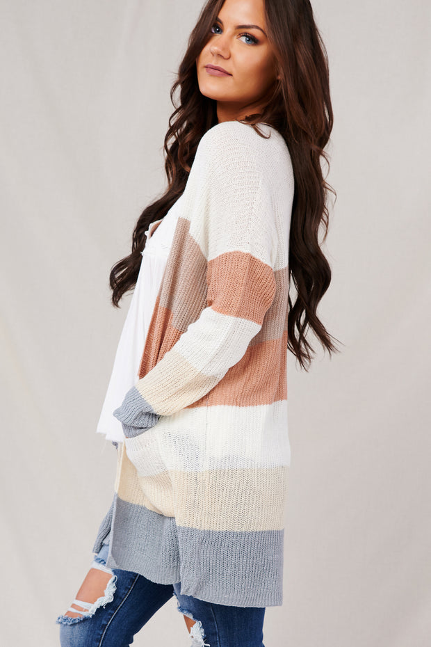 In Too Deep Striped Knit Cardigan (Ivory/Taupe)