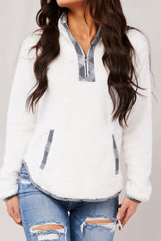 To The Touch Plaid Detail Pullover (Ivory/Grey) - NanaMacs