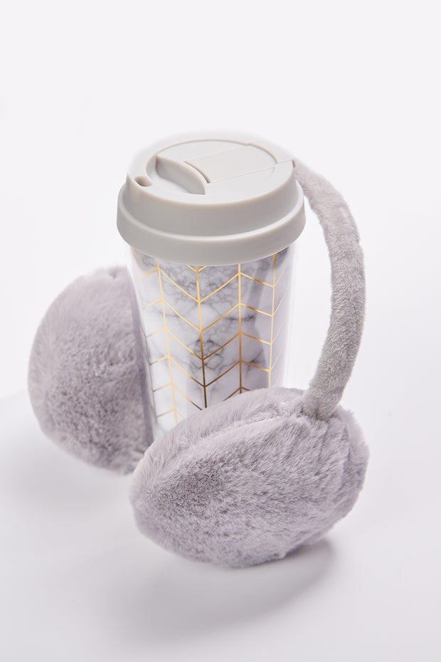 Morning Vibes Travel Mug And Earmuff Set (Light Grey)