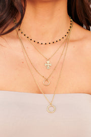 Picking Sides Layered Necklace (Antique Gold) - NanaMacs