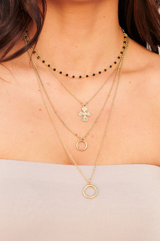 Picking Sides Layered Necklace (Antique Gold)