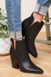 Just Between Us Faux Leather Perforated Booties (Black)